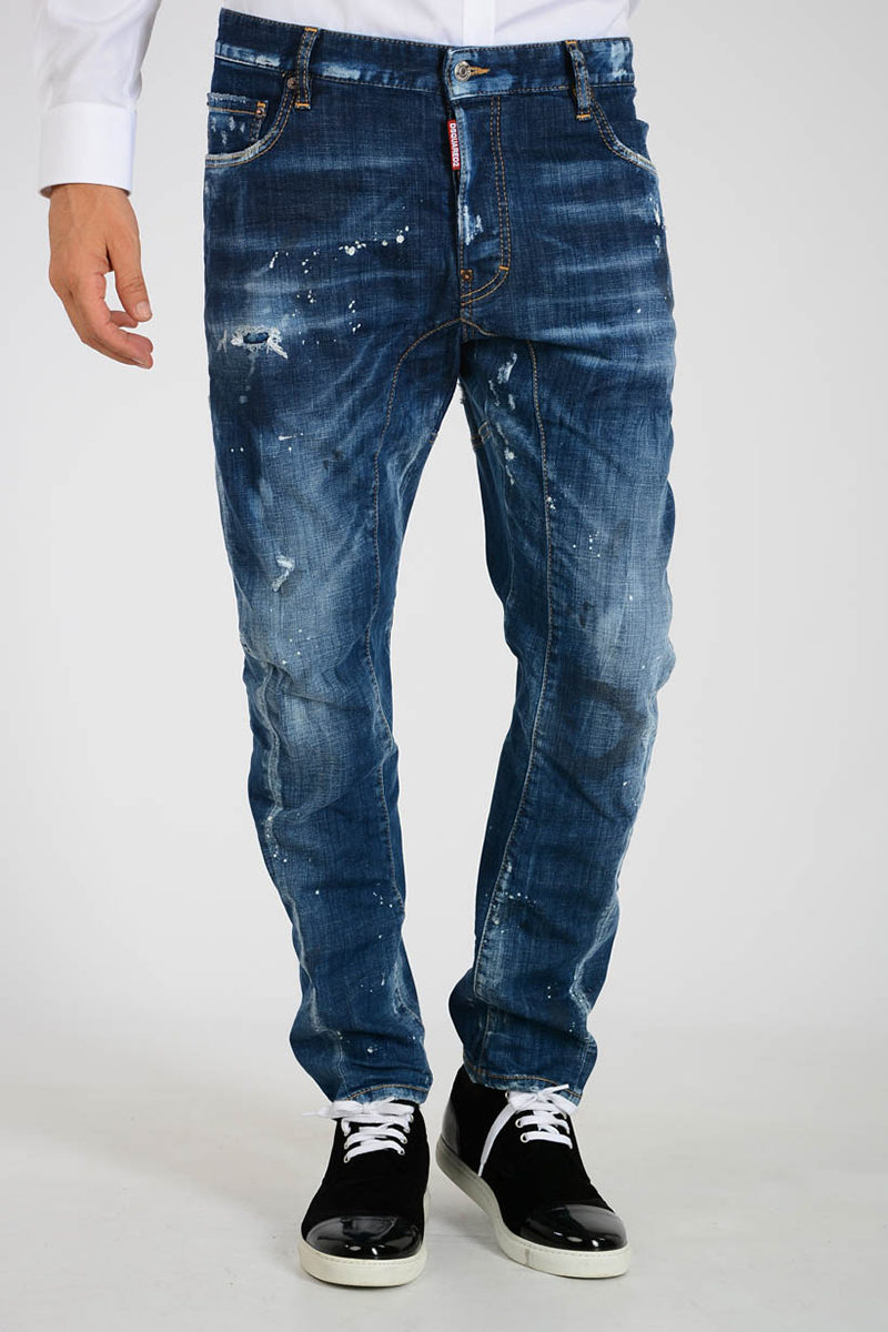 Dsquared2 Jeans TIDY BIKER in Denim Stretch 17cm uomo - Glamood Outlet 635fe8b44a8a