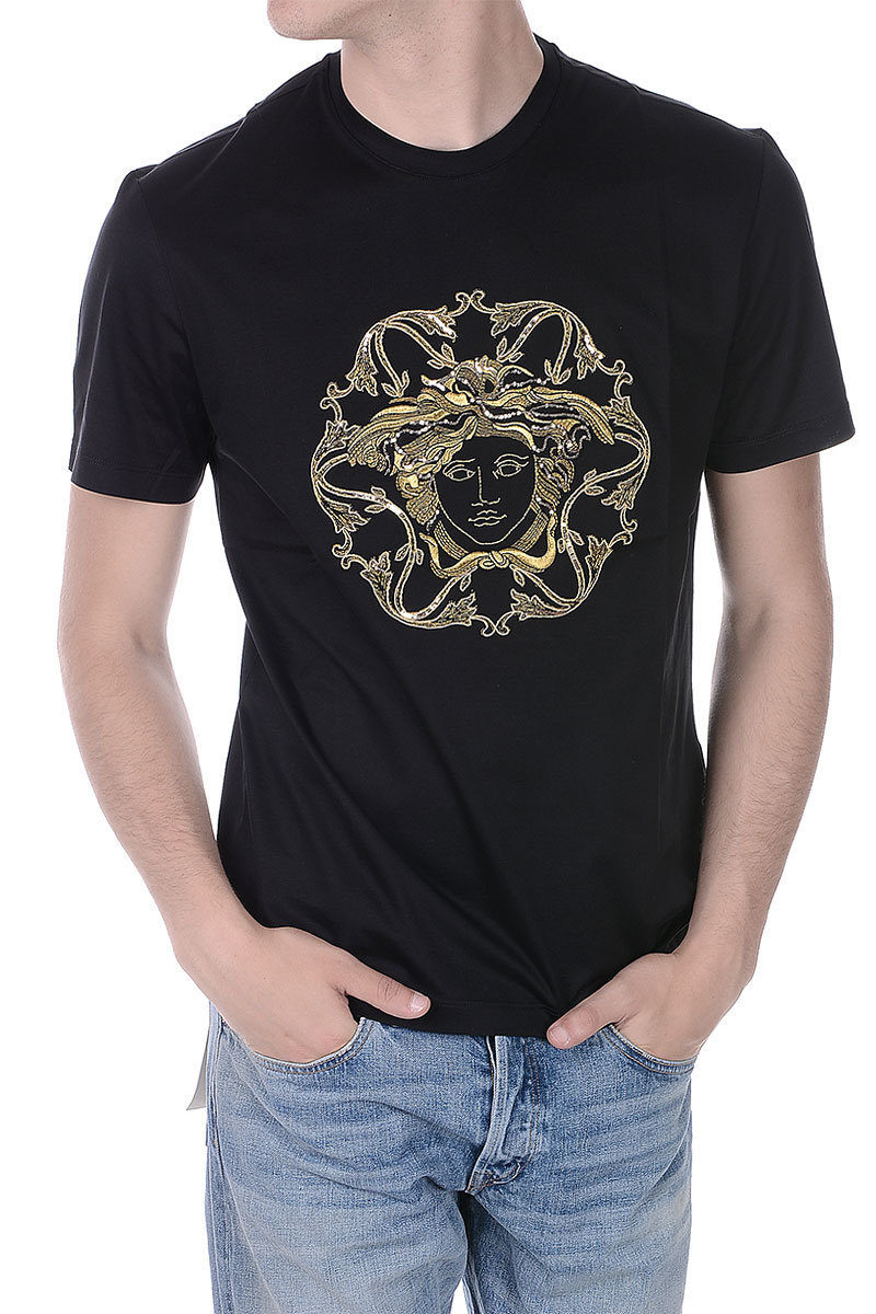 dea42999 Versace Jersey T-Shirt with Embroidery and Sequins men - Glamood Outlet