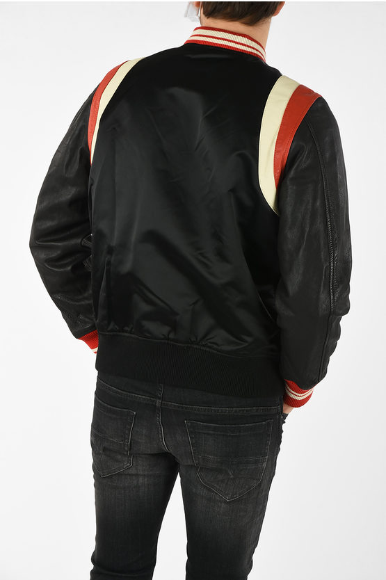 L-HARU Bomber with Leather Sleeves