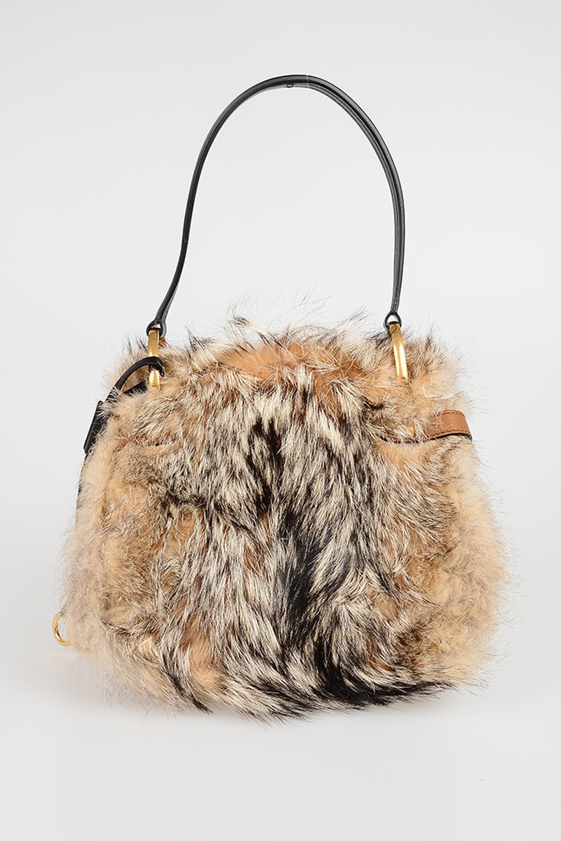 f7fe28d288c0 Prada Leather and Fox Fur Hand Bag with Stud women - Glamood Outlet