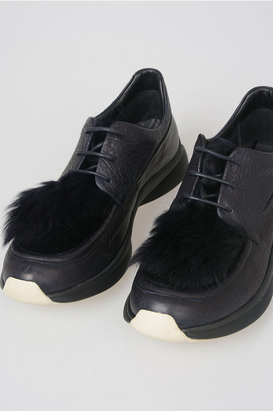 Leather and Fur Derby Shoes