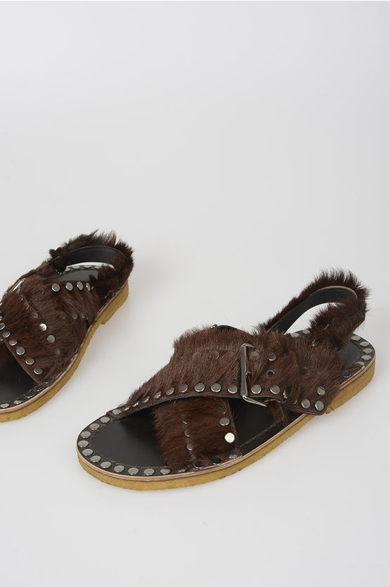 Leather and Pony Skin Sandals