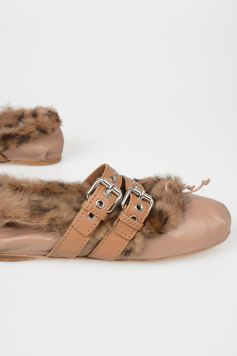 0e8ba327c0c9 Miu Miu Leather and Real Fur Ballet Flat women - Glamood Outlet