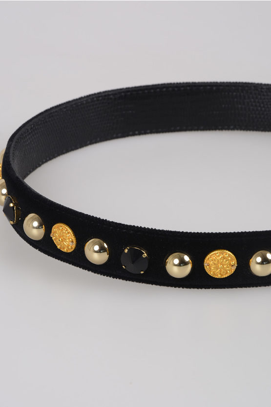 Leather and Velvet Shoulder Strap with Studs