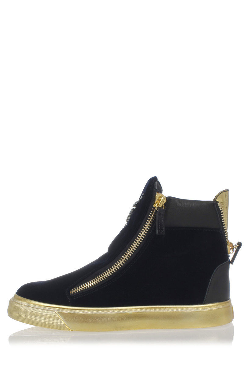 75055cf6e2246 Giuseppe Zanotti Leather and velvet VERONICA sneakers with gold ...