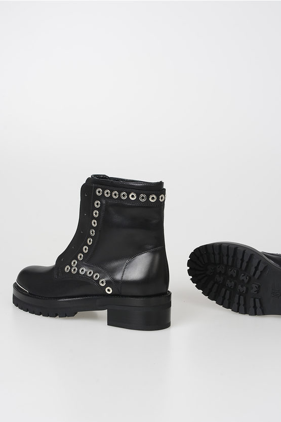 Leather Ankle Boots with Stud