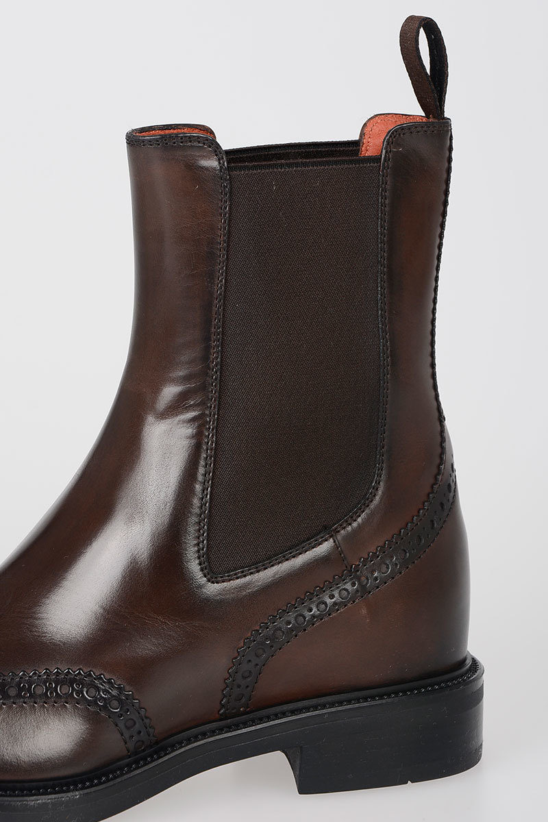 9203d25afd349 Santoni Leather ankle wing tips Boots women - Glamood Outlet