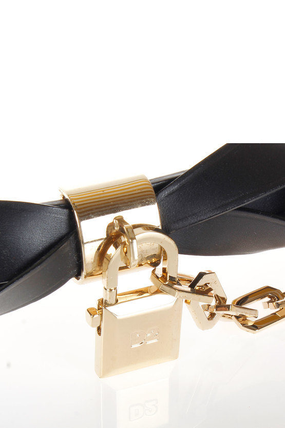 Leather Belt with ribbon and padlock