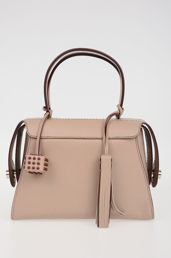 Leather Bowler Bag with Pendant
