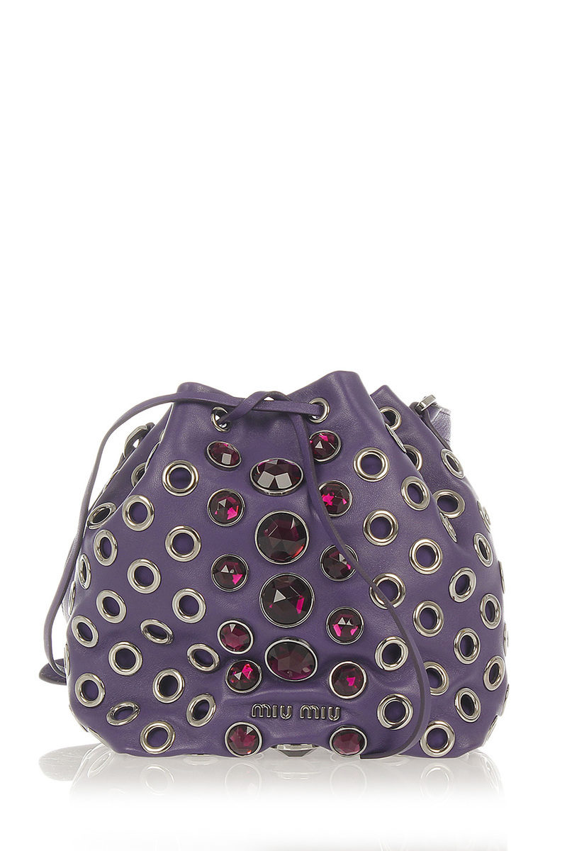 Miu Miu Leather Bucket Bag with Jewel Inserts women - Glamood Outlet b471a243162ed