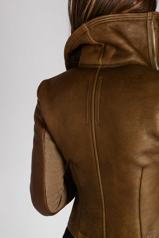 Leather CLASSIC BIKER Jacket Mustard