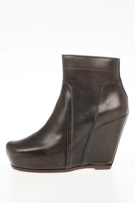 Leather CLASSIC ZIP WEDGE Ankle Boots DARKDUST
