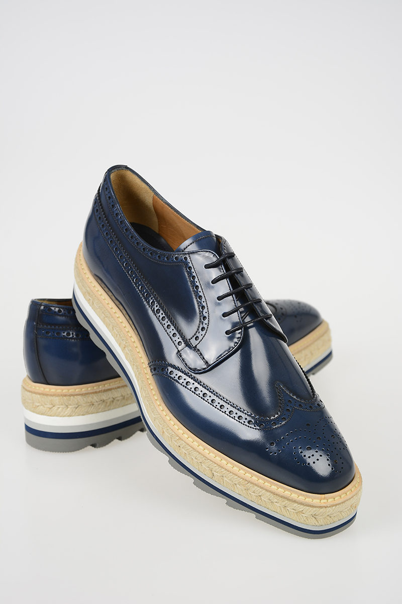 Prada Leather Derby Shoes with Platform