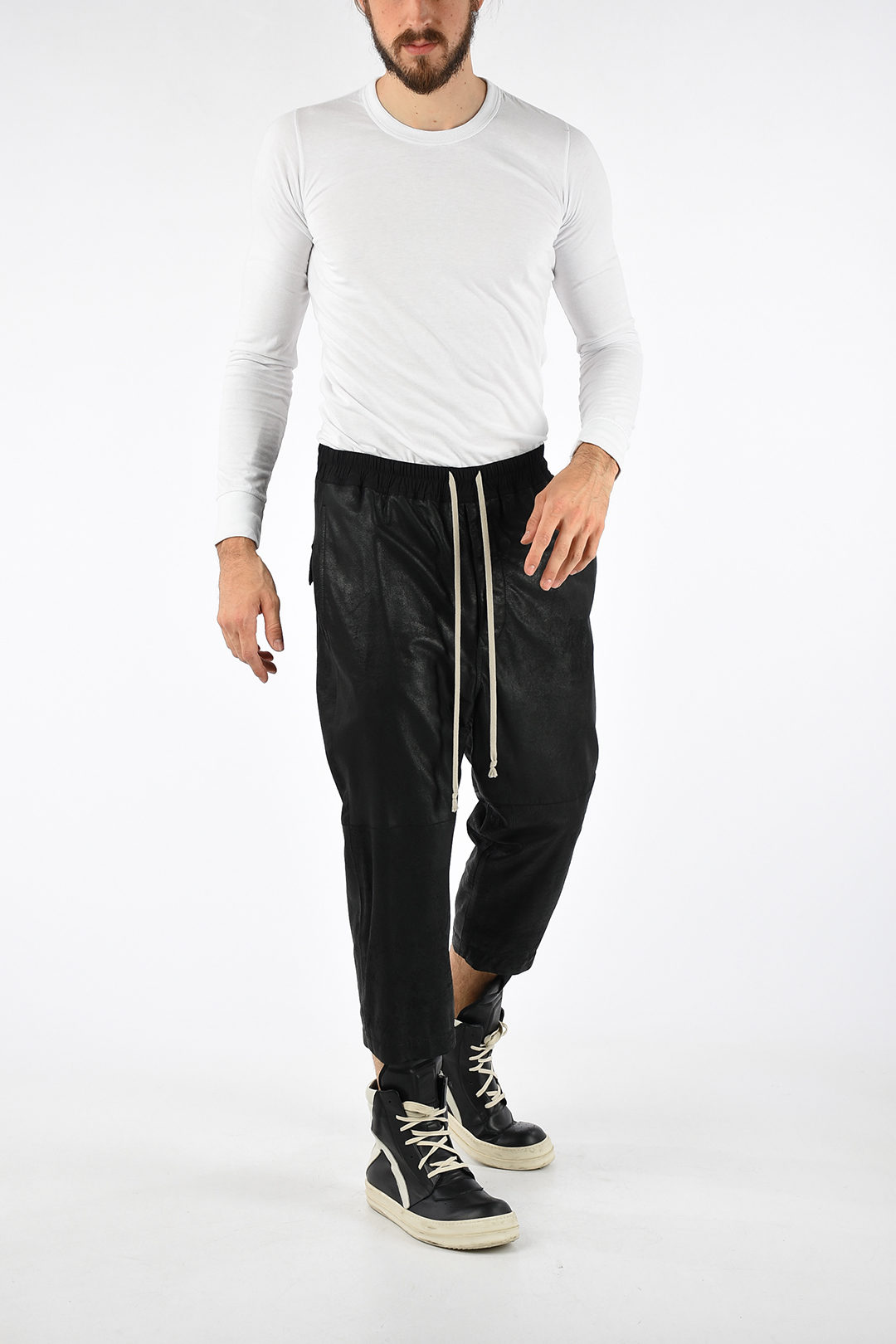 latest collection fashionable and attractive package buy online Leather DRAWSTRING ASTAIRES CROPPED Pants