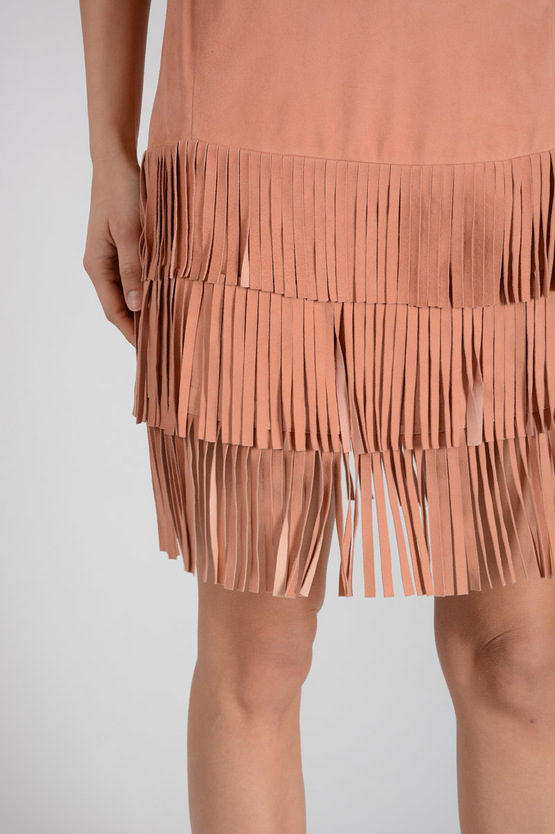 Leather Dress with Stud and Fringe