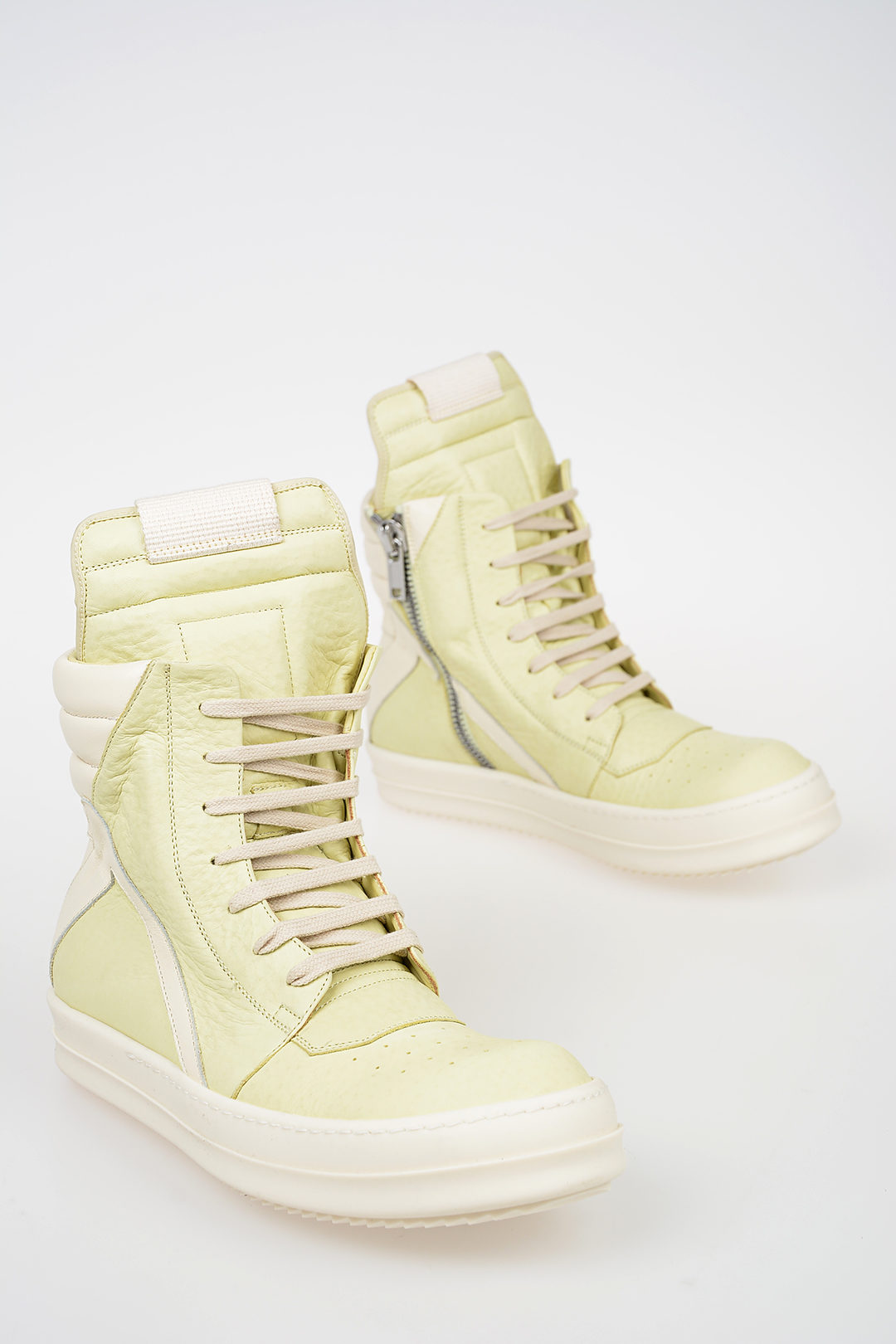 free shipping c48be caabd Leather GEOBASKET Sneakers LIME/MILK