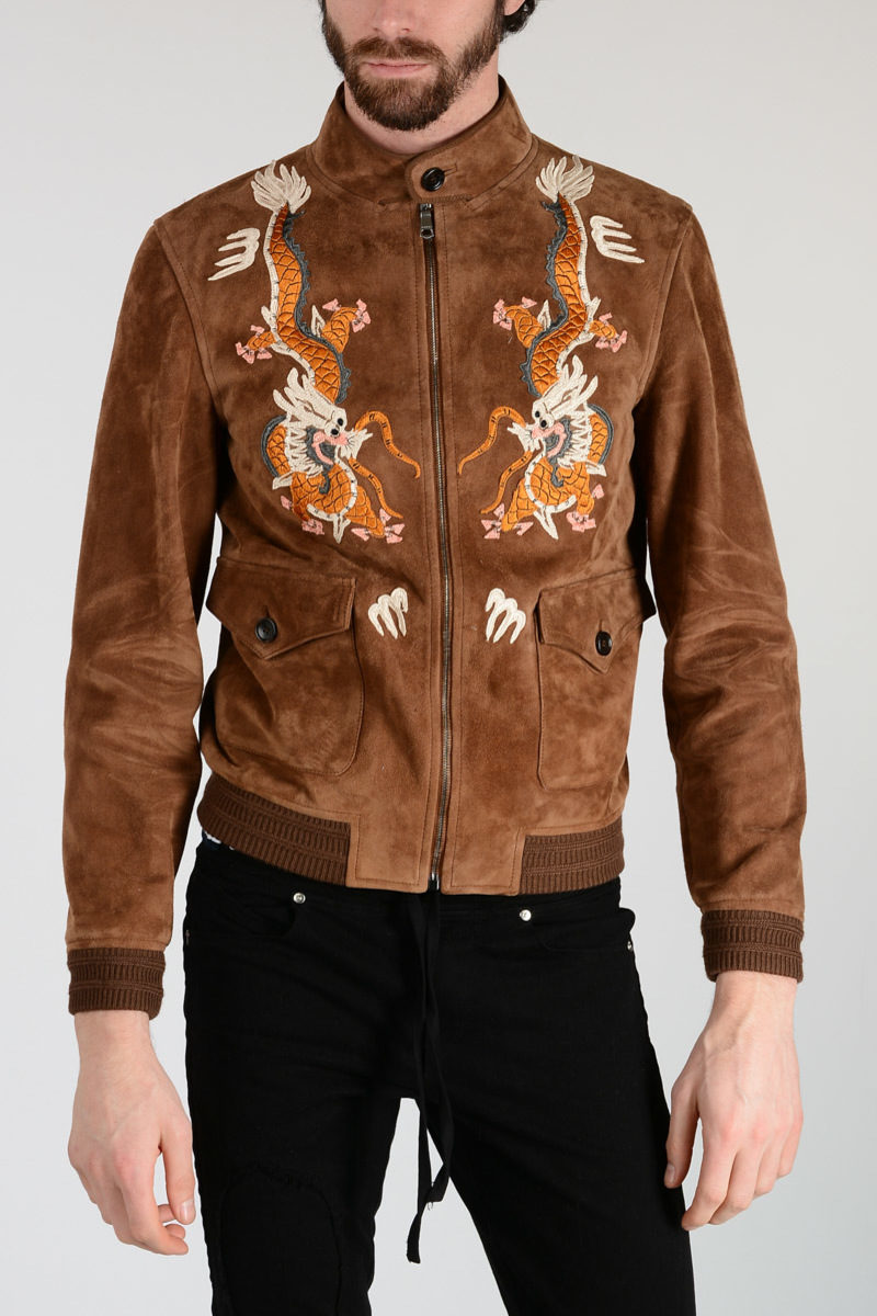 Gucci Leather Jacket With Wool Blend Embroidery men - Glamood Outlet dea6aac870a9