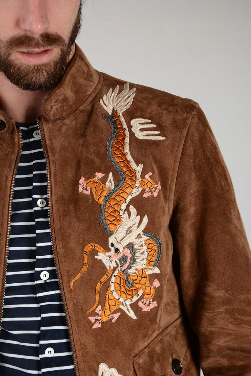 Wool Leather Jacket Blend With Embroidery vxUwSxp4