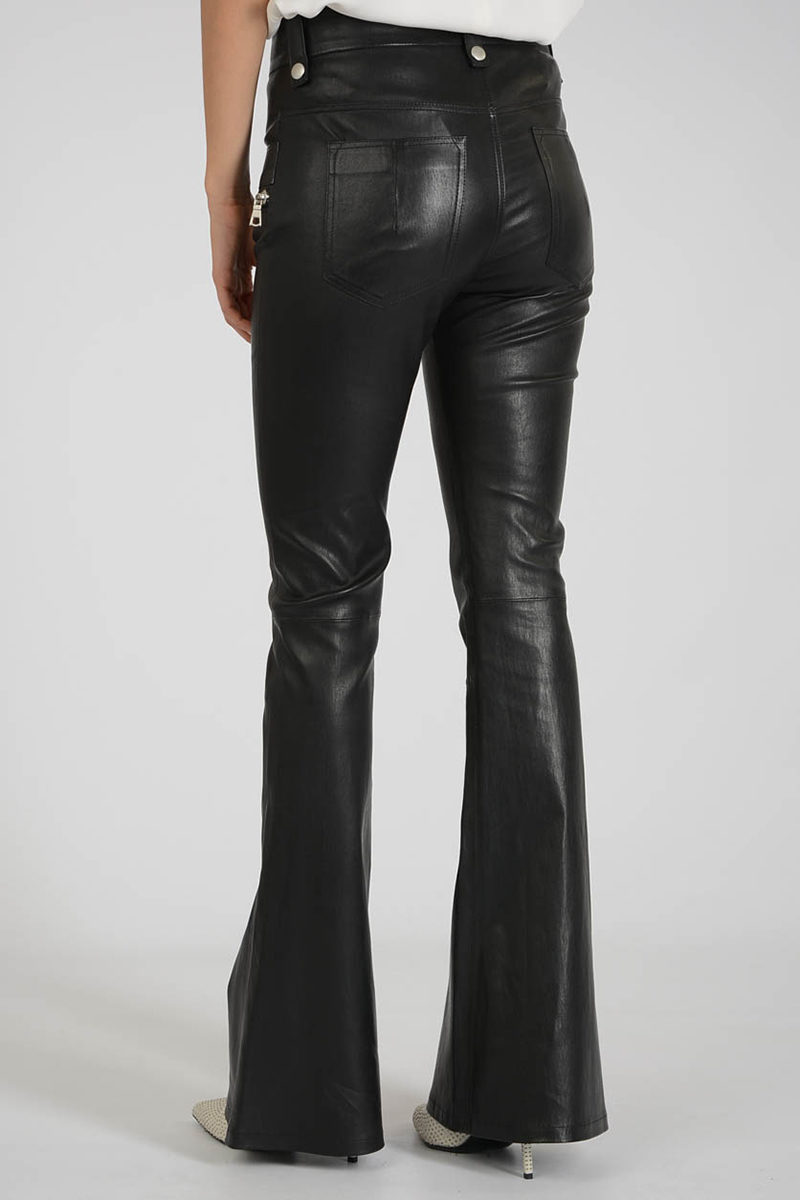 Ben Taverniti Unravel Project Leather Lace Up Flare Pants