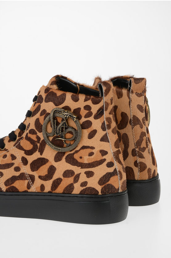Leather Leopard-Print Sneakers