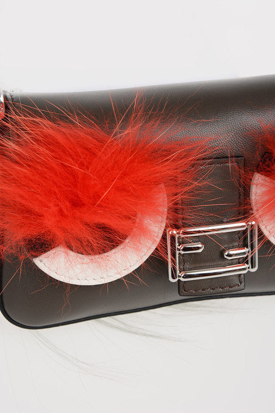 Leather Mini Pochette with Real Fur