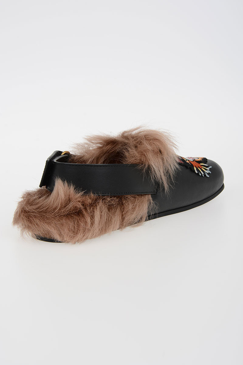 77f539e4c Gucci Leather Mules RIVER CAT with Fur Lining men - Glamood Outlet