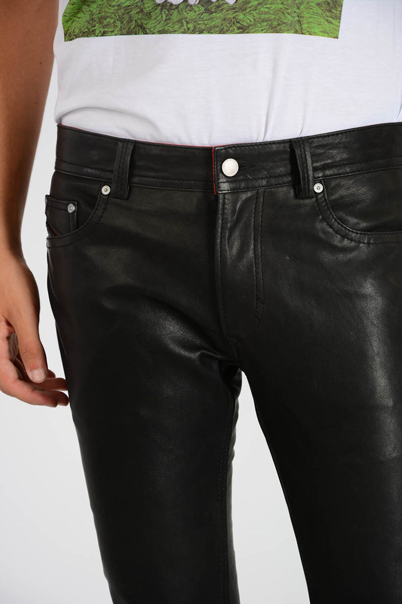 Diesel Leather P-THAVAR-L Pants men - Glamood Outlet