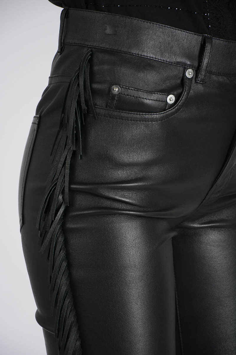1b0925978a297b Saint Laurent Leather Pants with Fringe women - Glamood Outlet