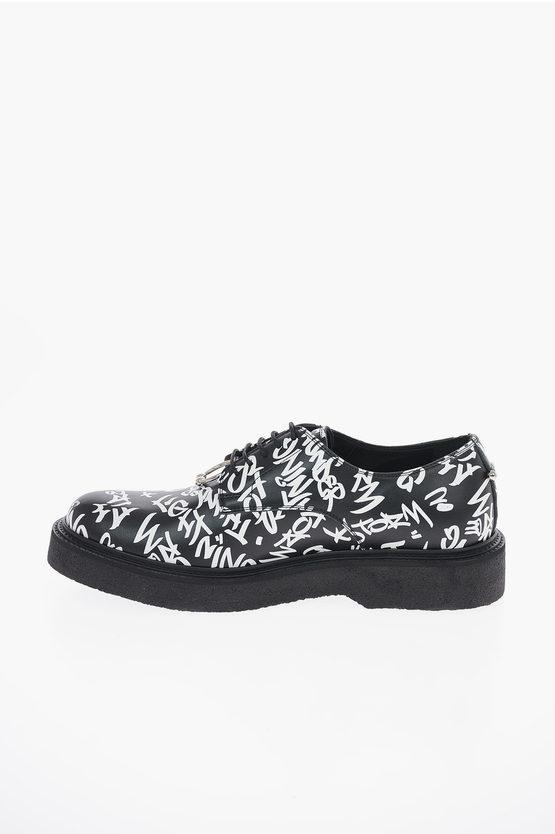 Leather PIERCED GRAFFITI Derby Shoes