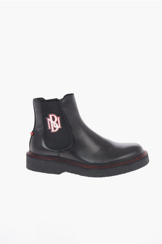 Leather PIERCED MONOGRAM Chelsea Boots