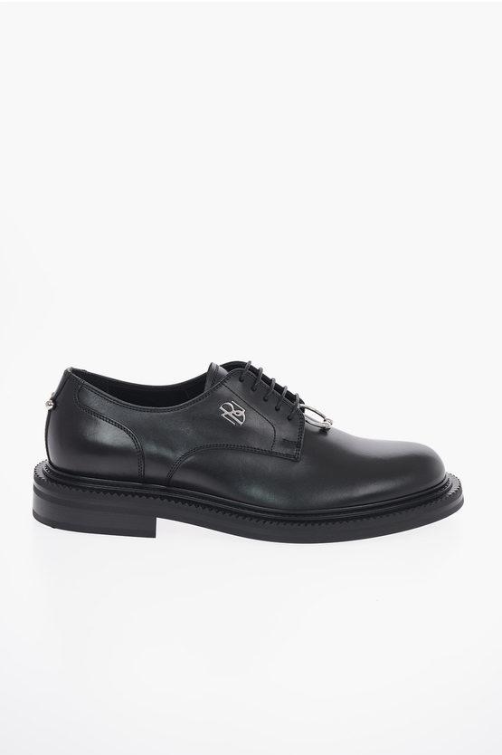 Leather PIERCED MONOGRAM Derby Shoes