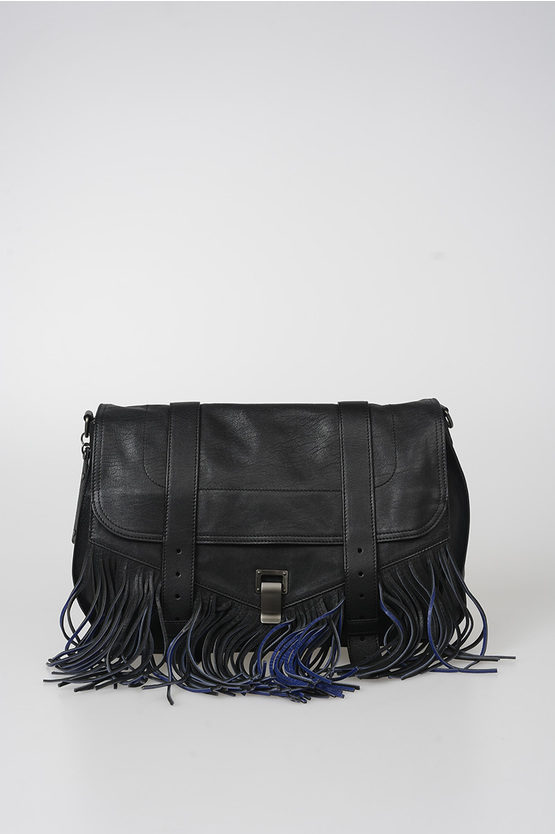 Leather PS1 RUNNER Shoulder Bag with Fringes