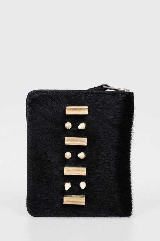 Leather Real Fur and Details Wallet