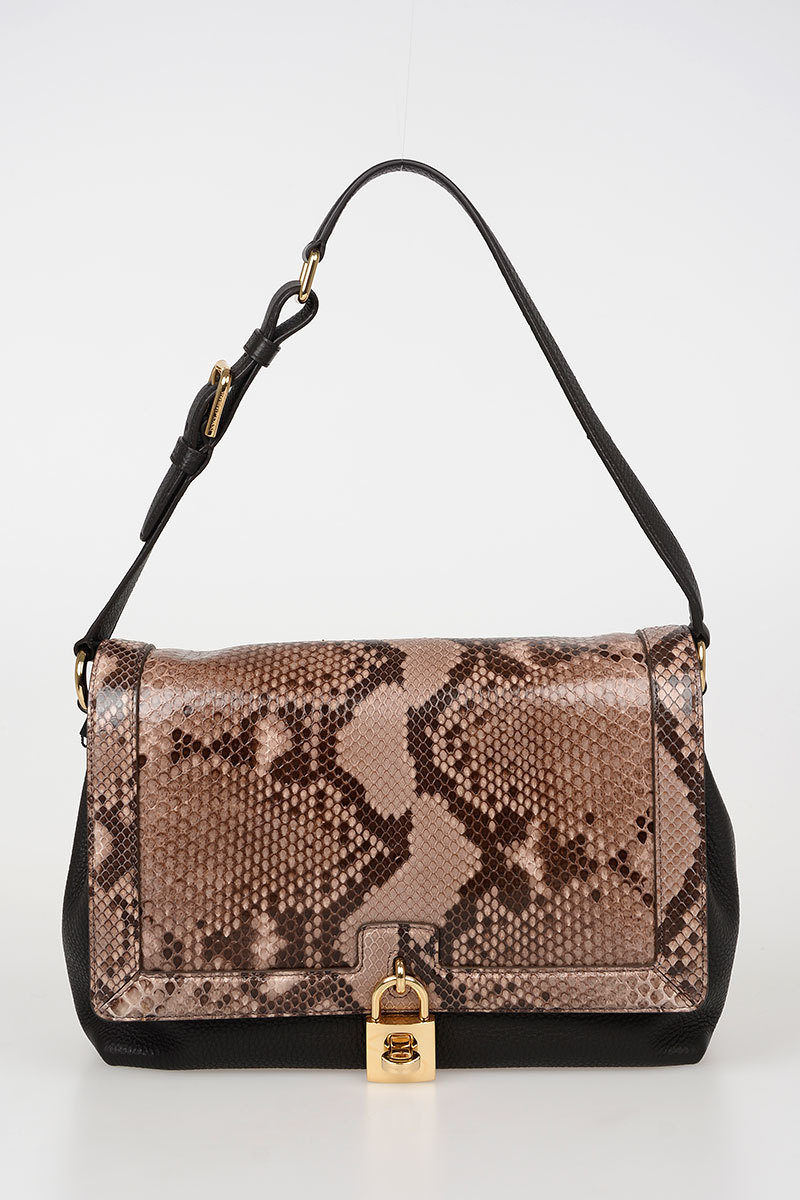 f249edef3a7 Dolce   Gabbana Leather Shoulder Bag with Python Skin Insert women ...