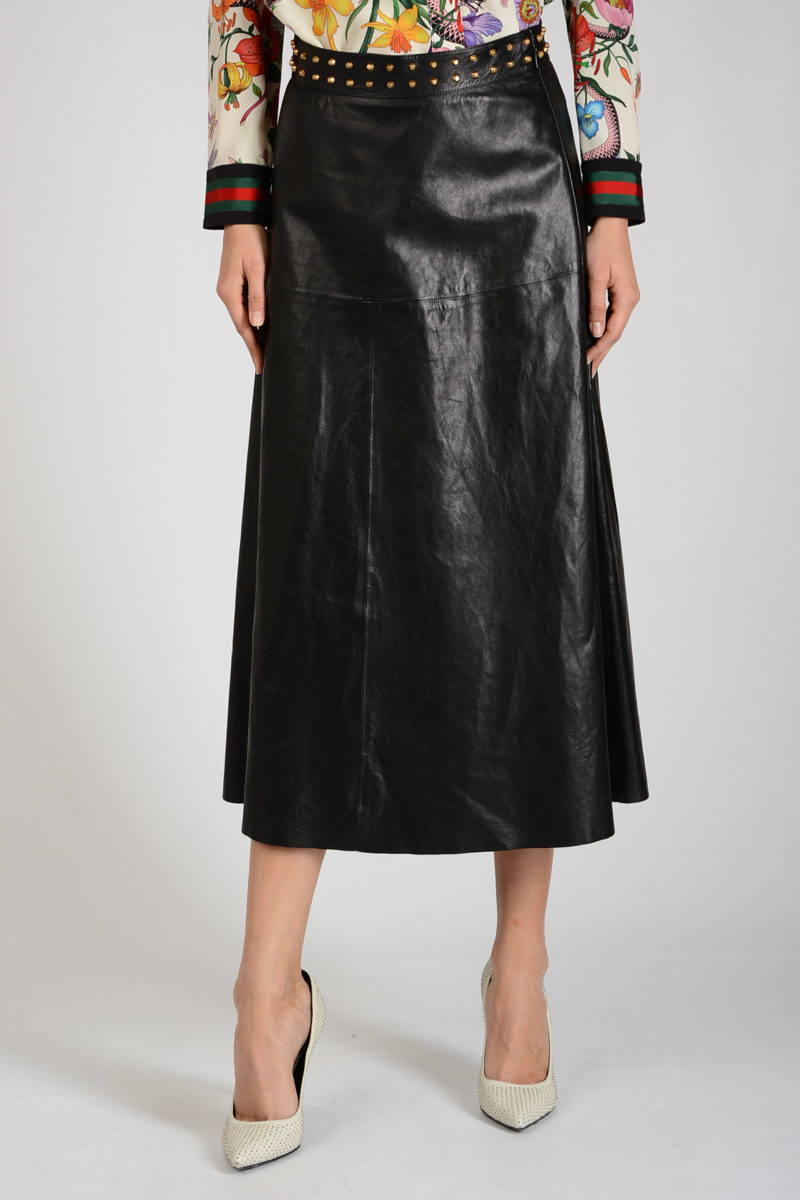 782135851c1d Gucci Leather Skirt with Stud women - Glamood Outlet