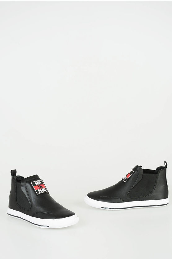 Leather Slip On Ankle Boots