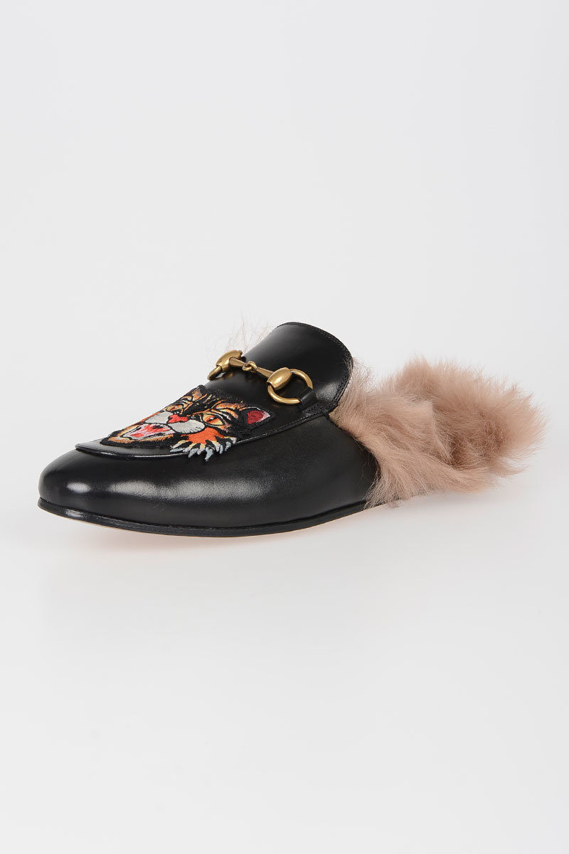 dcb6e74f198 Gucci Leather Slipper with Fur Lining men - Glamood Outlet