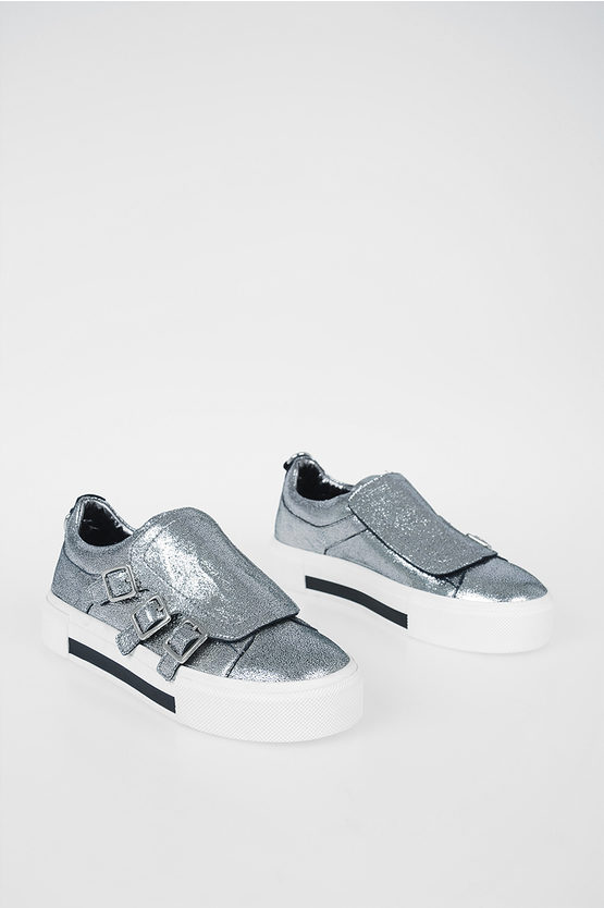 Leather Sneakers with Velcro Closure