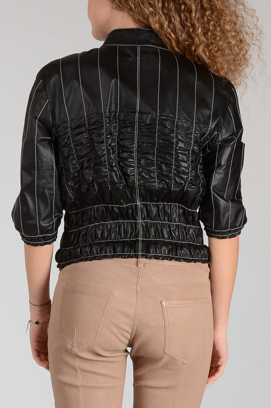 Leather Striped Jacket with Wrinkle