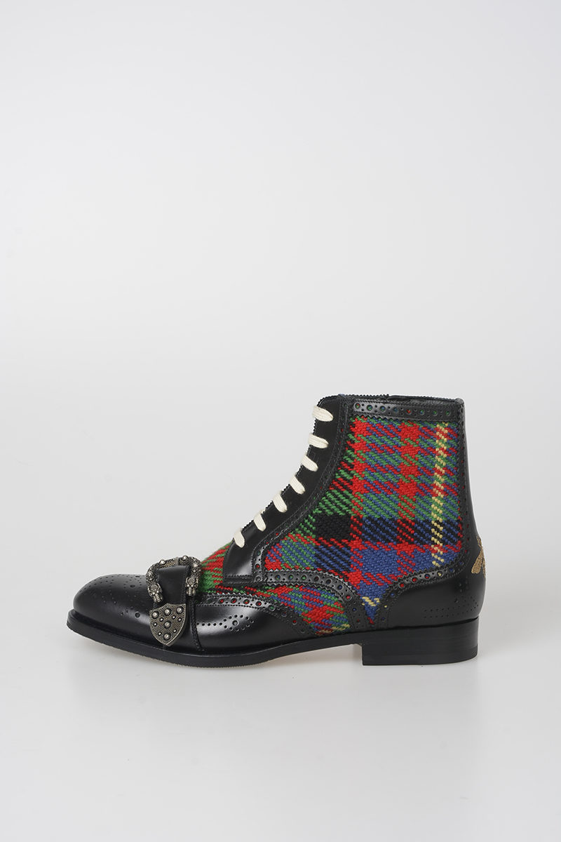 Gucci Leather Tartan Queercore Ankle Boots Men Glamood