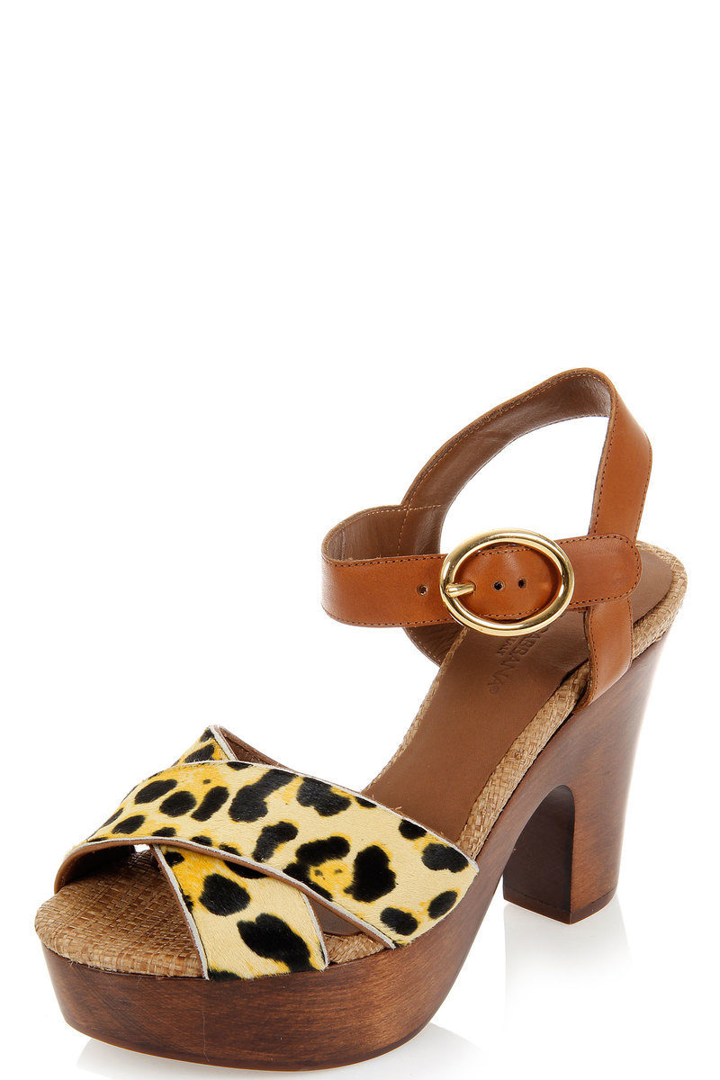 Shoes Leopard Dolce Pattern amp; Heel Woody Pony And Gabbana Sandal FAqHP