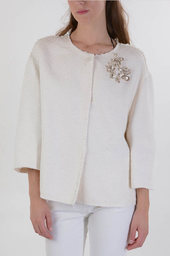 Linen and Cotton Jewel Embroidered Jacket
