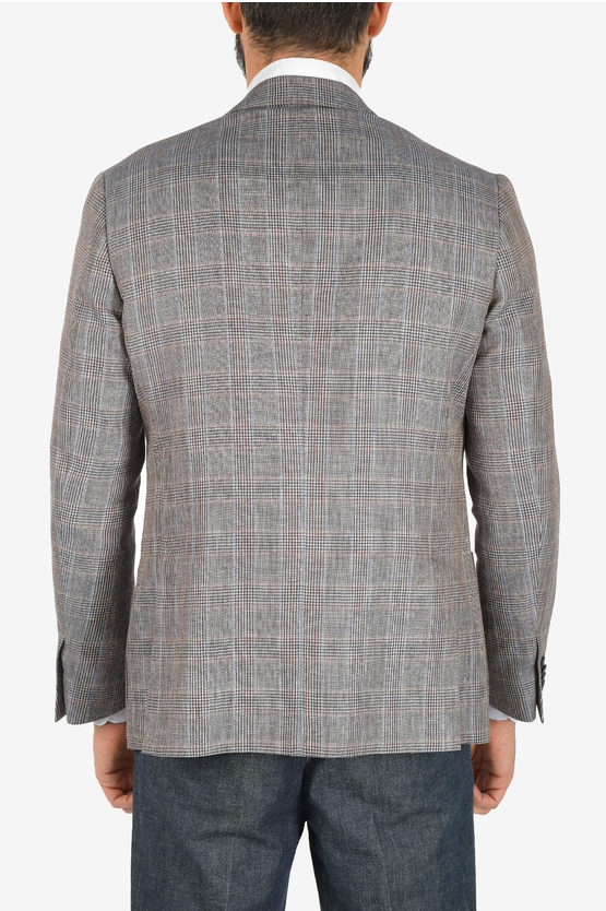Linen and cotton tartan GATE blazer