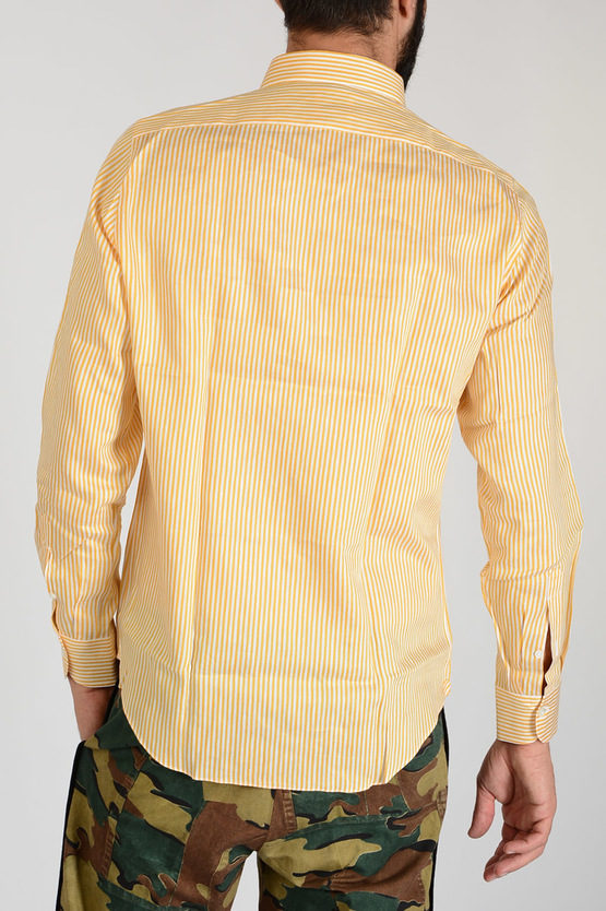 Linen Silk And Cotton Striped Shirt