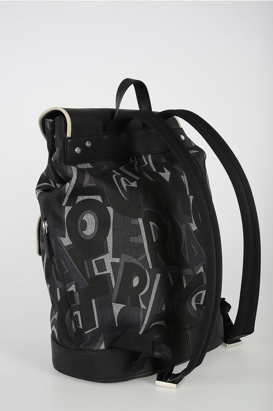Logo Printed Fabric Backpack