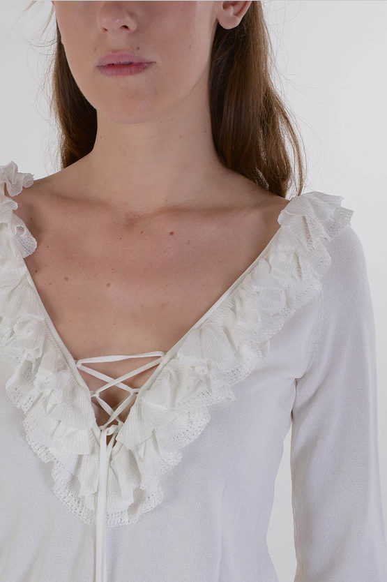 Long Sleeves Frilled Top