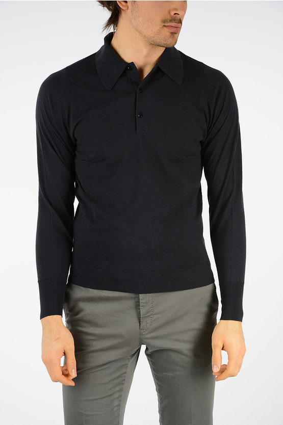 Long Sleeves Wool Polo Shirt