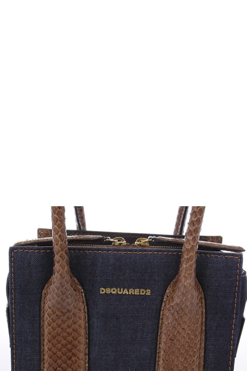 bd588399d73 Dsquared2 Mini Tote Bag in Denim and Python Skin women - Glamood Outlet