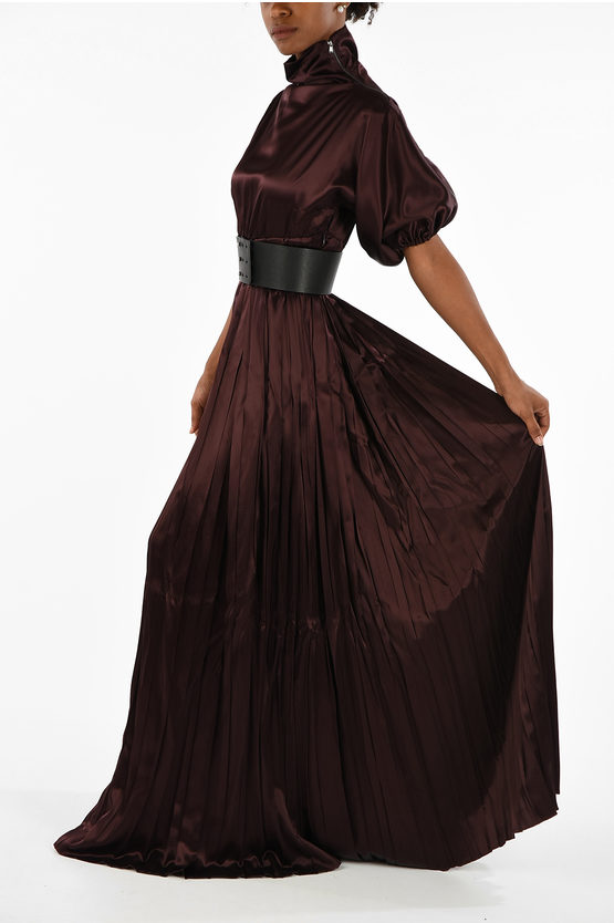 MM1 Flared Plisse Dress with Belt