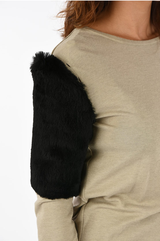 MM1 T-shirt with Real Fur Detail